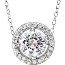 "14K White 5mm Round Forever One™ Moissanite & .05 CTW Diamond 16-18"" Necklace"