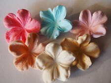 24 x FRANGIPANI FLOWERS cupcake toppers EDIBLE SUGAR cake decorations SUMMER