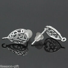 10 PCs Copper Earring Post Hollow Water Drop Silver Plated 15mmx13mm