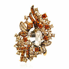 Dazzling Women Champange Rhinestone Glass Vintage Gold Plated Brooch Pin Jewelry