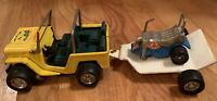 Vintage Buddy L Hauler Yellow Jeep Trailer Motorcycle 3 Piece Pressed Steel