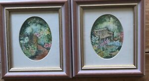 Pair Of Small Watercolour Paintings Country Garden With Flowers