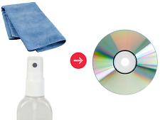 DVD & CD Cleaning Kit - Spray Liquid & Small Microfibre Cloth Surface Cleaner
