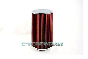 """RED UNIVERSAL 3.5"""" TALL FLANGE CONE AIR FILTER FOR GMC SHORT/COLD AIR INTAKE"""
