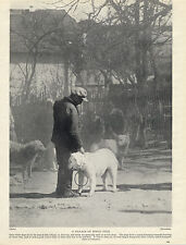 KUVASZ WATCH DOG AND MAN OLD ORIGINAL DOG PRINT FROM 1934