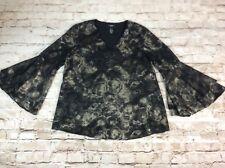 Alfani Womens Top XL Black Ruffle Bell Sleeve V Neck Lined Gold Print New