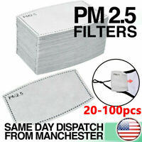 20-100pcs PM2.5 Activated Carbon Filter Pads 5 Layers Replacement  Adult/Child