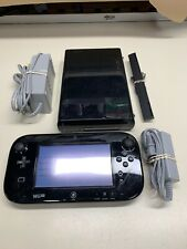 Nintendo Wii U 32GB Black Console System & Gamepad Cables **FULLY FUNCTIONAL**