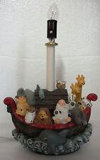 NOAH'S ARK Electric Table LAMP Baby Nursery Kids Genesis Bible Story Animals EUC