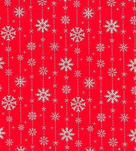 NEW! Christmas FALLING SNOWFLKES CHRISTMAS Red PolyCotton XMAS Fabric Material