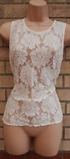 NEW LOOK  WHITE FLORAL LACE BEADED BOHEMIAN PARTY TUNIC CAMI TOP BLOUSE 8 S
