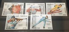 1991 Full Set of 5 Laos Stamps - 1992 Winter Olympics - Unused MNH