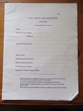 6 OLD LEICESTER POLICE FORCE LOST PROPERTY FORMS