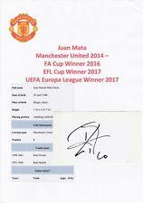 Juan Mata Manchester United 2014-Original Autógrafo De Corte