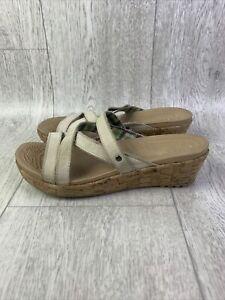 Crocs A-Leigh Leather Cork Wedge Open Toe Sandals Croslite Footbed Womens Sz 8W