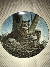 Vintage 1989 Edwin M Knowles  The Great Horned Owl China Plate New In Box