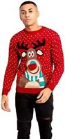 Mens Rudolf Pompom Knitted Christmas Novelty Xmas Jumper Size Small to 3XL