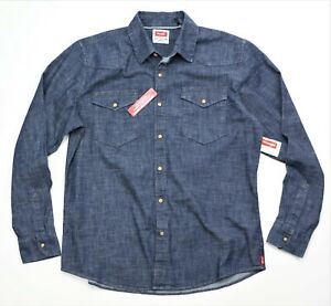 New Wrangler Slim Fit Dark Denim Shirt Men's Sizes S-XXXL Premium Flex Fabric