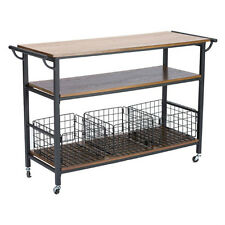 Kitchen Islands on Wheels Portable Large Rustic Industrial Coffee Bar Cart New