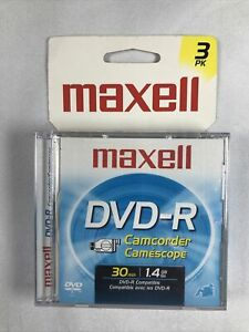 Maxell DVD-R Camcorder Discs 30 min 1.4 gb (3 Disc pack) Sealed - Mini Dvds