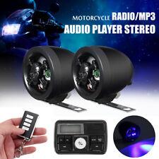 12V Motorcycle Handlebar Audio Alarm USB/SD FM Radio MP3 Player Stereo Speakers