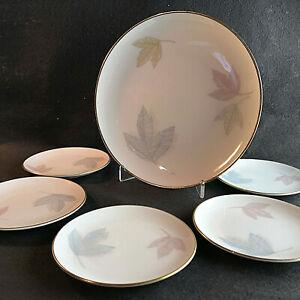 (z1) THOMAS Porzellan Teller 11 / 19,8 cm Set Vintage Blätter pastell Goldrand