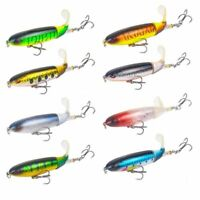 Rotate Soft Tail Hard Fishing Lures Crankbaits Hook Minnow Baits Tackle 10cm