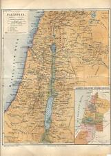 Carta geografica antica PALESTINA PALESTINE 1890 Old antique map