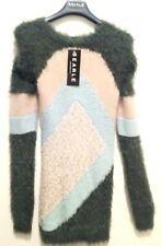 Searle Dress Long Sleeve Mohair Angora Abstract Metallic Gray Multi L NWT