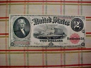 1917 $2 Two Dollar Red Seal US Large Size Note LEGAL TENDER-- NO RESERVE