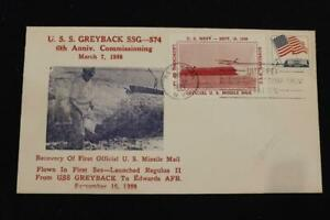 NAVAL COVER 1964 SHIP CANCEL 6TH ANNIV. COMMISSION USS GREYBACK (SSG-574) (6138)