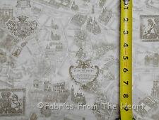 Paris France Eiffel Tower Plan De Map in Cream BY YARDS Timeless Treasure Fabric