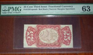 FR.1291 SP NMB (3rd Issue) 25 cent RED BACK SPECIMEN (PMG - Ch.UNC 63)