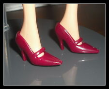 SHOES BARBIE DOLL MERLIN AND MORGAN LE FAY BURGUNDY MARY JANE SHOES FOR DIORAMA