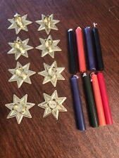 Star Shaped Metal Small Candle Holders in Gold + 8 Ceremony Candles  All New