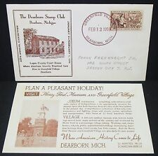 Dearborn Stamp Club Cachet US Cover Greenfield Village Lincoln USA Brief (Y-138