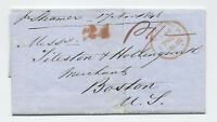 1848 Boston MA 24 rate handstamp retaliatory transatlantic stampless [45.111]
