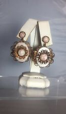 HTF Vintage 1950's Copper Filigree Goldstone Lucite Thermoset Clip On Earrings