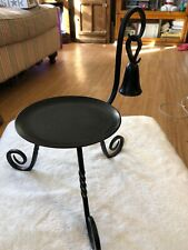 PARTYLITE Black Metal 3 Leg CANDLE Holder Stand With SNUFFER Wrought Iron