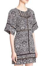 NEW IRO 'Tawny' Crochet Trim Print Dress in Black/White - Size 38 US 6