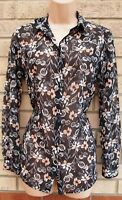 MISS SELFRIDGE BLACK PINK FLORAL WHITE BUTTONED LONG SLEEVE TOP BLOUSE SHIRT 8 S