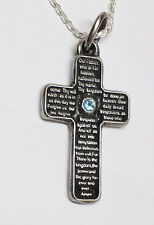Lord's Prayer Silver Cross With Birth Stone English