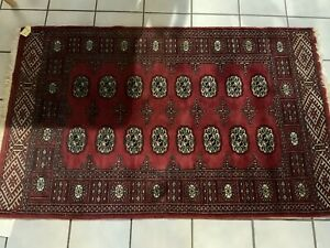 FABULOUS RED HAND KNOTTED PAKISTAN MORI BOKHARA RUG ORG $1345.00