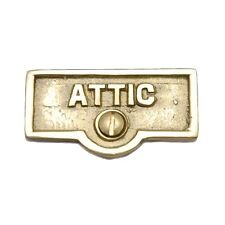 Switch Plate Tags Attic Name Signs Labels Lacquered Brass | Renovator's Supply
