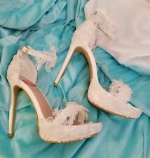 Custom Order Wedding Dream White Embroidered Lace Bridal Ankle Strap Heels