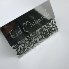 10 Pieces Eid Mubarak Placecards Label Table Decor Silver Laser Cut Islamic