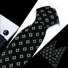 Mens Black Blue White Check Silk Work Tie Handkerchief Hanky Cufflinks GIFT SET