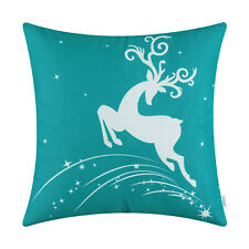 CaliTime Cushion Covers Pillow Shells Christmas Holiday Reindeer Stars Sofa Home