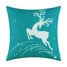 CaliTime Cushion Covers Pillow Shells Christmas Holiday Reindeer Stars Sofa Home