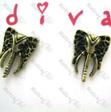 CUTE ELEPHANT head STUDS art deco style VINTAGE BRASS aztec ANIMAL antique gold